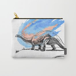 Brontosaurus Dinosaur on Blue Watercolor Asteroid Carry-All Pouch