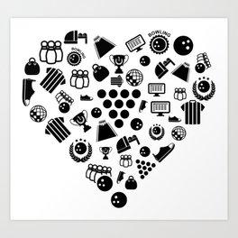 I Love Bowling | Bowler Heart Ball Strike League Art Print