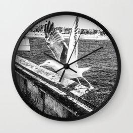 Seagull Taking Flight B&W // California West Coast Pier Vibes Beach Ocean Surf City USA Wall Clock