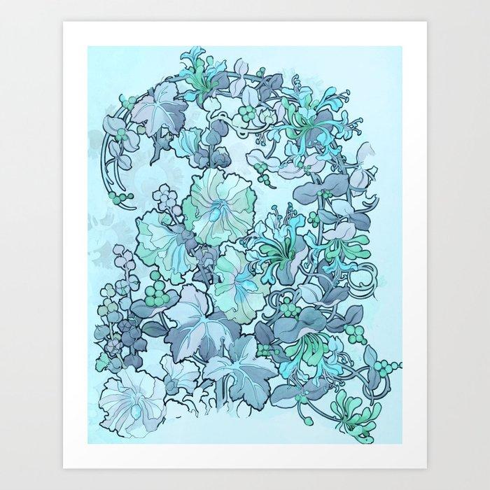 """Alphonse Mucha """"Printed textile design with hollyhocks in foreground"""" (edited blue) Kunstdrucke"""
