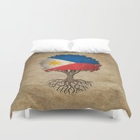 philippines Duvet Covers featuring Vintage Tree of Life with Flag of Philippines by Jeff Bartels