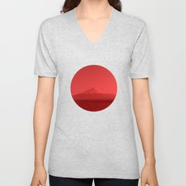 Japanese Flag - Mount Fuji, Japan Unisex V-Neck