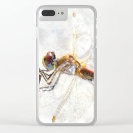 Platinum White Dragonfly Watercolor Clear iPhone Case