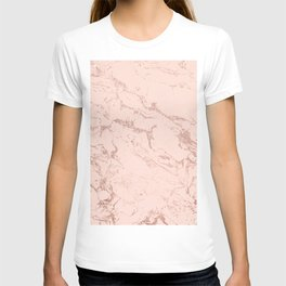 Modern rose gold glitter ombre foil blush pink marble pattern T-shirt