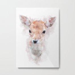 Watercolour deer fawn baby animal nursery kids room pastel pink Metal Print