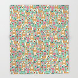 Shiba inu mint florals cute flowers dog breed must have gifts for pet dog lover unique dog breed art Throw Blanket