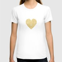 gold foil T-shirts featuring Geometric Gold Foil Heart by Always Brighter
