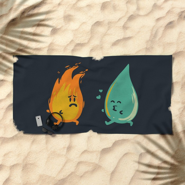 Impossible Love (fire and water kiss) Beach Towel