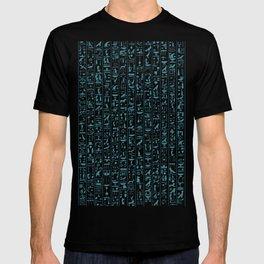 Hieroglyphics Moonstone BLUE / Ancient Egyptian hieroglyphics pattern T-shirt