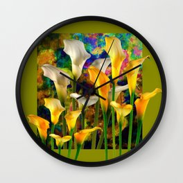 Ivory & Golden  Color Calla Lilies Avocado Art Wall Clock