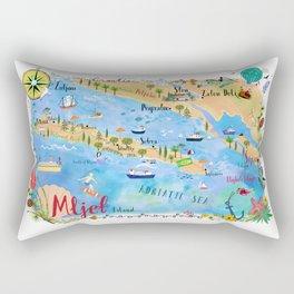 Illustrated Island Map of Mljet Rectangular Pillow