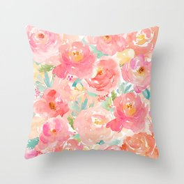 Preppy Pink Peonies Throw Pillow
