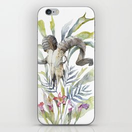 Short Day / Ram Animal Skull and Sarracenia Carnivorous Plant Platycerium Leaves Surreal iPhone Skin
