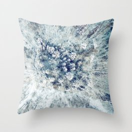AERIAL. Frozen forest in winter Throw Pillow