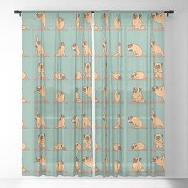 Pug Yoga Sheer Curtain