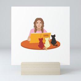 Cat Lover Book Libary Librarian Kitten Feline Gift Mini Art Print