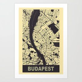 Budapest, Hungary, city map, Peach-Yellow Art Print