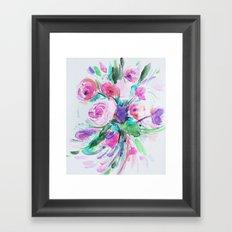 pink watercolor floral  Framed Art Print
