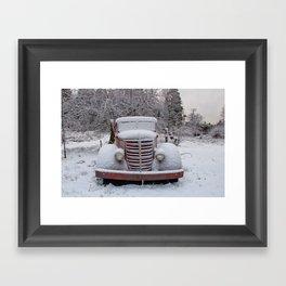 Truck in the Snow, Palomar Mountain Framed Art Print