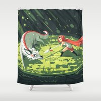 wallet Shower Curtains featuring Duel by Freeminds