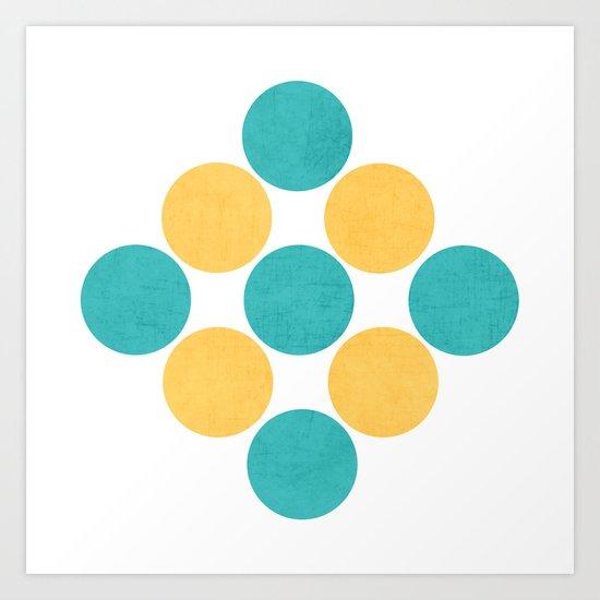 diamond dots -aqua and yellow Art Print