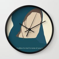 les miserables Wall Clocks featuring Workhouse Fantine - Anne Hathaway - 'Give That Letter to Me' - Les Miserables by Hrern1313
