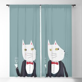 Cheers! Gentleman Cat Blackout Curtain