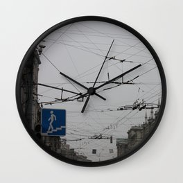 Overhead wires Moscow Wall Clock