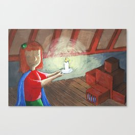 Jess goes into the attic Canvas Print