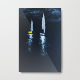 Yacht in the night sea Metal Print