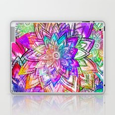 Psychedelic Neon Colorful Vintage Floral Pattern Drawing Watercolor Laptop & iPad Skin