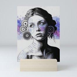 Ayil (vintage lady portrait, mandala doodles sketch) Mini Art Print