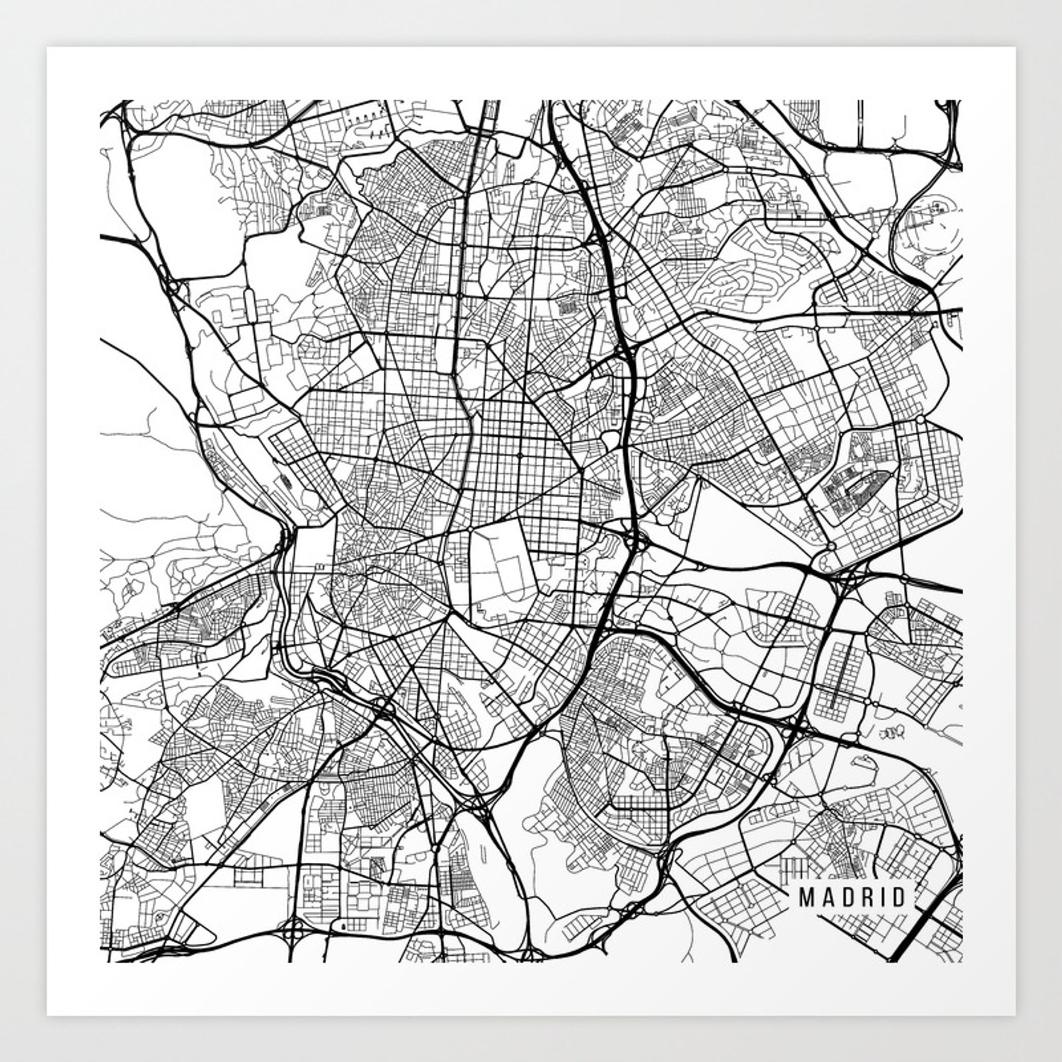 Black And White Madrid madrid map, spain - black and white art print by mainstreetmaps