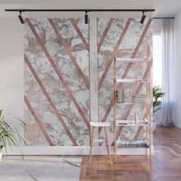 Modern faux rose gold white geometrical marble stripes Wall Mural