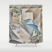 pablo picasso Shower Curtains featuring Portrait of Pablo Picasso by ArtMasters