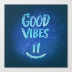 Good Vibes - Funny Smiley Statement / Happy Face (Blue Stars Edit) Canvas Print
