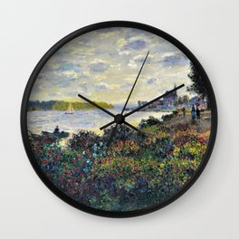 Red Poppies on the banks of the Seine at Argenteuil by Claude Monet Wall Clock