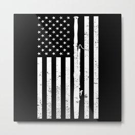 American Flag Bassoon USA Marching Band Metal Print