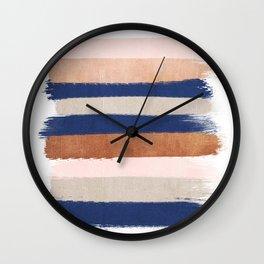 Stripes abstract minimalist painting bronze copper gold metallic stripe pattern decor nursery Wall Clock