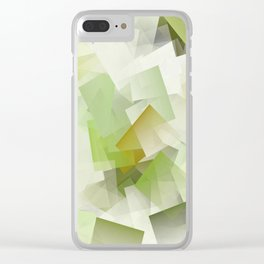 Geometric Stacks Green Clear iPhone Case