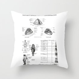Apollo Saturn V Command Module Blueprint in High Resolution (white) Throw Pillow