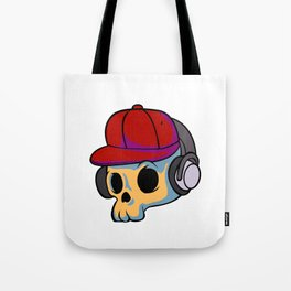 cartoon skull with Earphones and hat Tote Bag