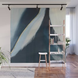Daydream: a pretty, minimal, abstract, mixed-media piece in blue and gold by Alyssa Hamilton Art Wall Mural
