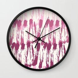 Pastel pink burgundy watercolor abstract zigzag brushstrokes Wall Clock