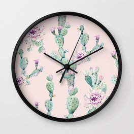Cactus Rose Pattern on Pink Wall Clock