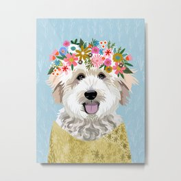 Golden Doodle Flower Portrait - dog portrait, goldendoodle dog, dog flower, flower crown, dog, dogs Metal Print