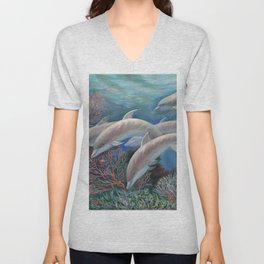 Happy Family - Dolphins Are Awesome Unisex V-Neck