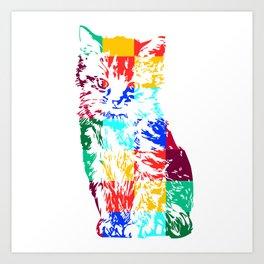 Colored Cat Art Print