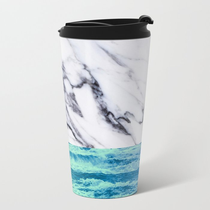 Marble Ocean iPhone Case and Throw Pillow Design Metal Travel Mug