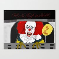 pennywise Canvas Prints featuring Pennywise AKA The Clown by ItalianRicanArt